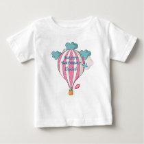 Cute Pink Hot Air Balloon With Raccoon Baby T-Shirt