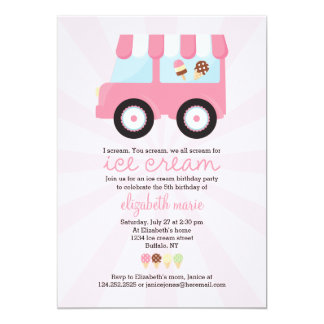 Cute Pink Ice Cream Party Card