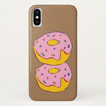 Cute pink icing doughnuts sweet dessert art iPhone XS case
