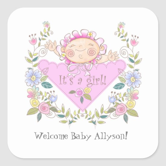 Cute Pink It's A Girl Baby Shower Favors Square Sticker