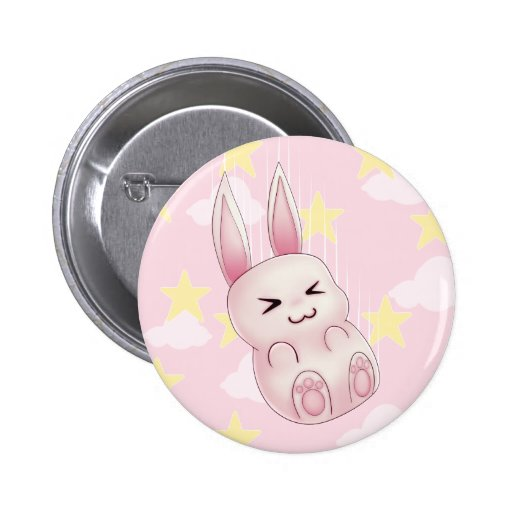 Cute pink Kawaii Bunny rabbit falling from stars 2 Inch Round Button