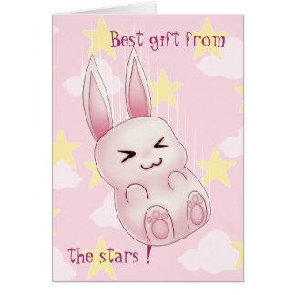 Cute pink Kawaii Bunny rabbit falling from stars Card