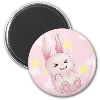 Cute pink Kawaii Bunny rabbit falling from stars 2 Inch Round Magnet