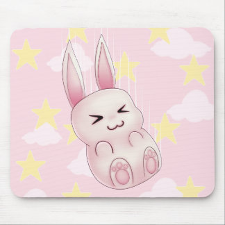 Cute pink Kawaii Bunny rabbit falling from stars Mouse Pad