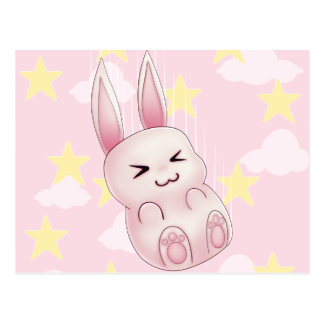 Cute pink Kawaii Bunny rabbit falling from stars Postcard