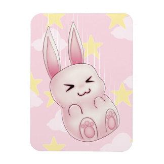 Cute pink Kawaii Bunny rabbit falling from stars Rectangular Photo Magnet