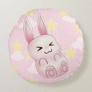 Cute pink Kawaii Bunny rabbit falling from stars Round Pillow