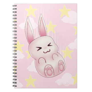 Cute pink Kawaii Bunny rabbit falling from stars Spiral Notebook