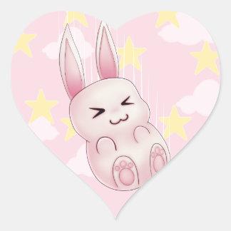 Cute pink Kawaii Bunny rabbit falling from stars Heart Sticker