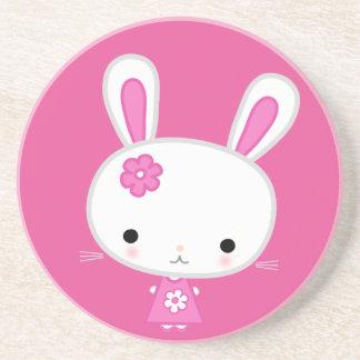 Cute Pink Kawaii Bunny Sandstone Coaster