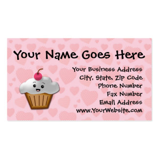 Cute Pink Kawaii Happy Face Cupcake Girls Double-Sided Standard Business Cards (Pack Of 100)