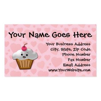 Cute Pink Kawaii Happy Face Cupcake Girls Business Card