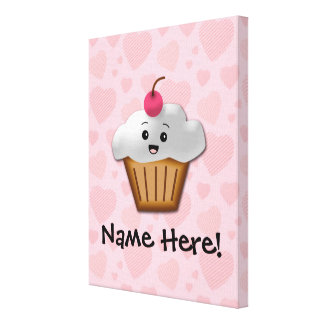 Cute Pink Kawaii Happy Face Cupcake Girls Canvas Print