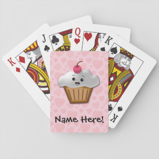 Cute Pink Kawaii Happy Face Cupcake Girls Card Deck