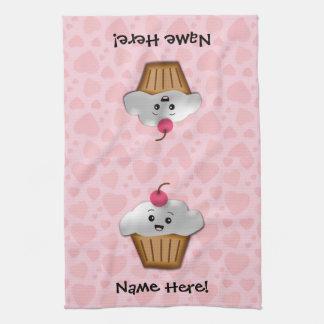 Cute Pink Kawaii Happy Face Cupcake Girls Hand Towel