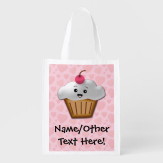 Cute Pink Kawaii Happy Face Cupcake Girls Market Totes
