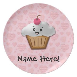 Cute Pink Kawaii Happy Face Cupcake Girls Dinner Plates