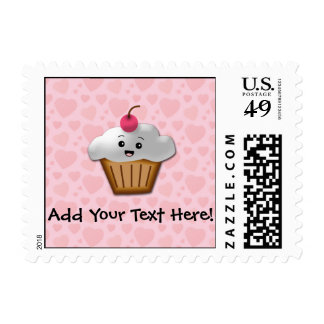 Cute Pink Kawaii Happy Face Cupcake Girls Postage