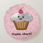 Cute Pink Kawaii Happy Face Cupcake Girls Round Pillow