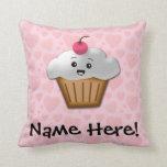 Cute Pink Kawaii Happy Face Cupcake Girls Throw Pillow