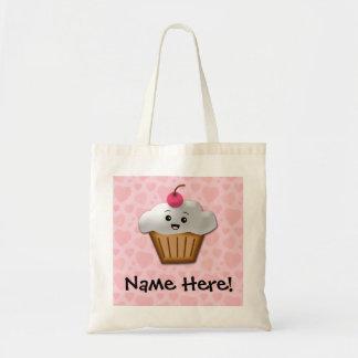Cute Pink Kawaii Happy Face Cupcake Girls Tote Bag