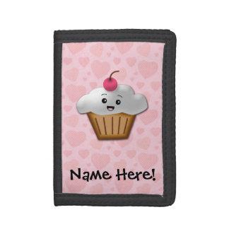 Cute Pink Kawaii Happy Face Cupcake Girls Trifold Wallets