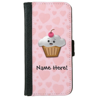 Cute Pink Kawaii Happy Face Cupcake Girls Wallet Phone Case For iPhone 6/6s