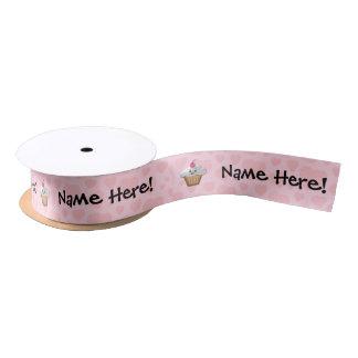 Cute Pink Kawaii Happy Face Cupcake Girls Blank Ribbon
