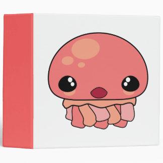 Cute Pink Kawaii Jellyfish Character 3 Ring Binder