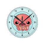Cute Pink Kawaii Jellyfish Character and Polka Dot Wall Clocks