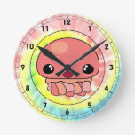 Cute Pink Kawaii Jellyfish Character and Tye Dye Round Wall Clock
