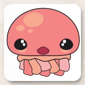 Cute Pink Kawaii Jellyfish Character Coasters