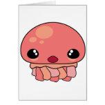 Cute Pink Kawaii Jellyfish Character Greeting Card