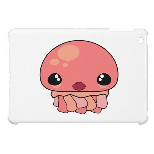 Cute Pink Kawaii Jellyfish Character iPad Mini Cover