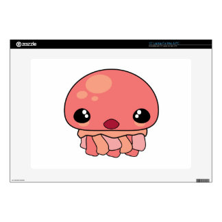 "Cute Pink Kawaii Jellyfish Character Decals For 15"" Laptops"