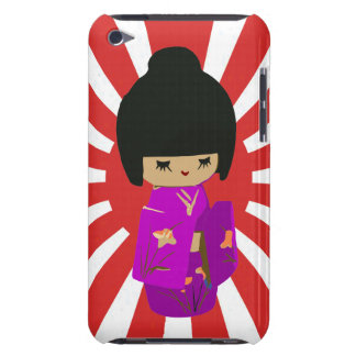 Cute Pink  Kawaii Kokeshi Doll on rising sun Barely There iPod Case