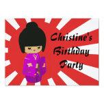 """Cute Pink  Kawaii Kokeshi Doll on rising sun 5"""" X 7"""" Invitation Card"""