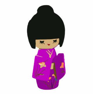 Cute Pink  Kawaii Kokeshi Doll on rising sun Statuette