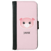 Cute Pink Kawaii Pig Illustration Name iPhone 6/6s Wallet Case