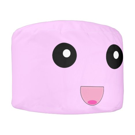 Cute Pink Kawaii Round Pouf Beanbag Chair