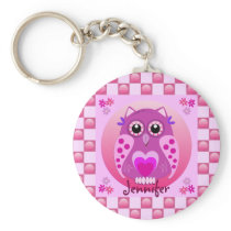 Cute pink keychain with Owl, Patterns & Name