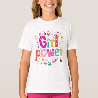 Cute Pink Kids Girl Power Print T-Shirt