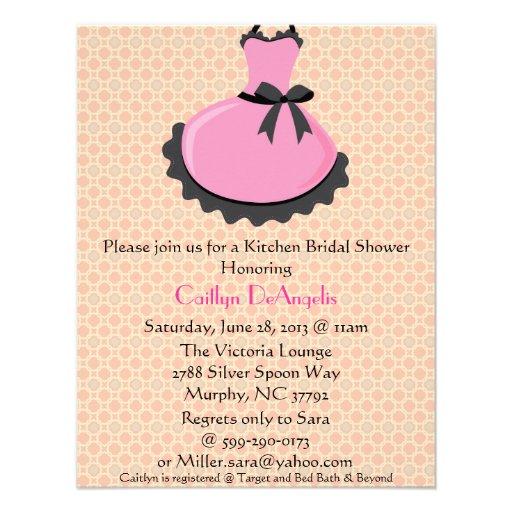 Cute Pink Kitchen Apron Bridal Shower Invitation