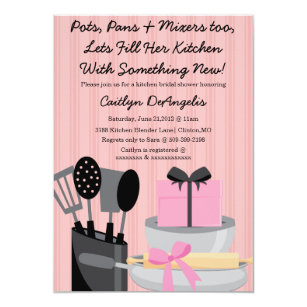 The pampered chef invitations zazzle cute pink kitchen gadget bridal shower invitation filmwisefo