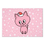 """Cute Pink Kitten in a Christmas Hat. 3.5"""" X 5"""" Invitation Card"""