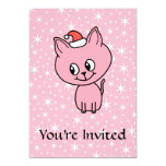 """Cute Pink Kitten in a Christmas Hat. 5"""" X 7"""" Invitation Card"""