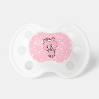 Cute Pink Kitten in a Christmas Hat. Baby Pacifiers