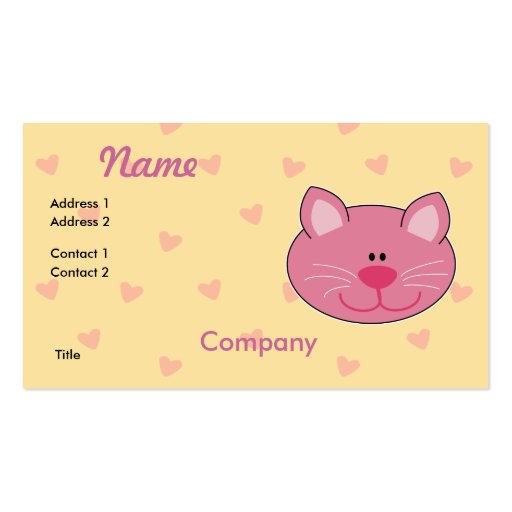 Cute Pink Kitty Cat Business Card Templates