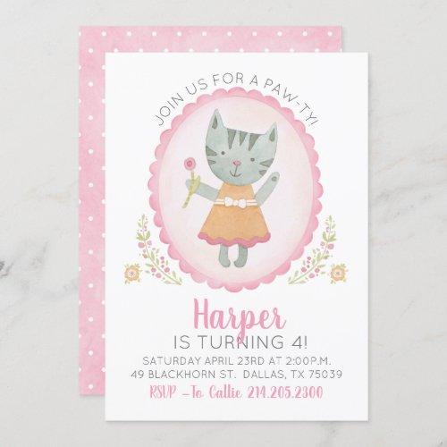 Cute Pink Kitty Cat Girl Birthday Invitation