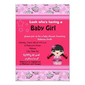 Cute Pink Kokeshi Baby Shower Invites